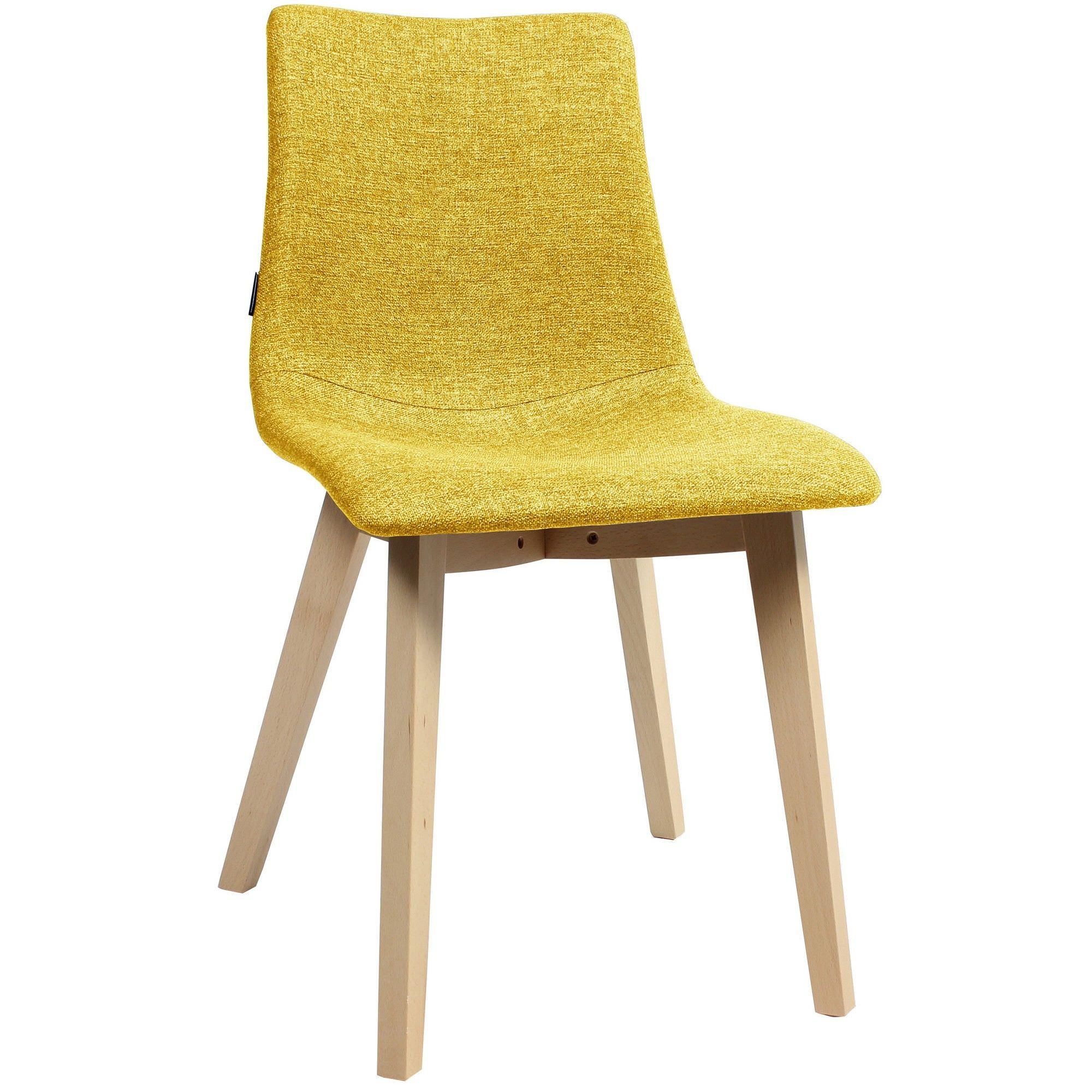 Zebra Pop Italian Made Commercial Grade Fabric Dining Chair, Timber Leg, Saffron / Natural