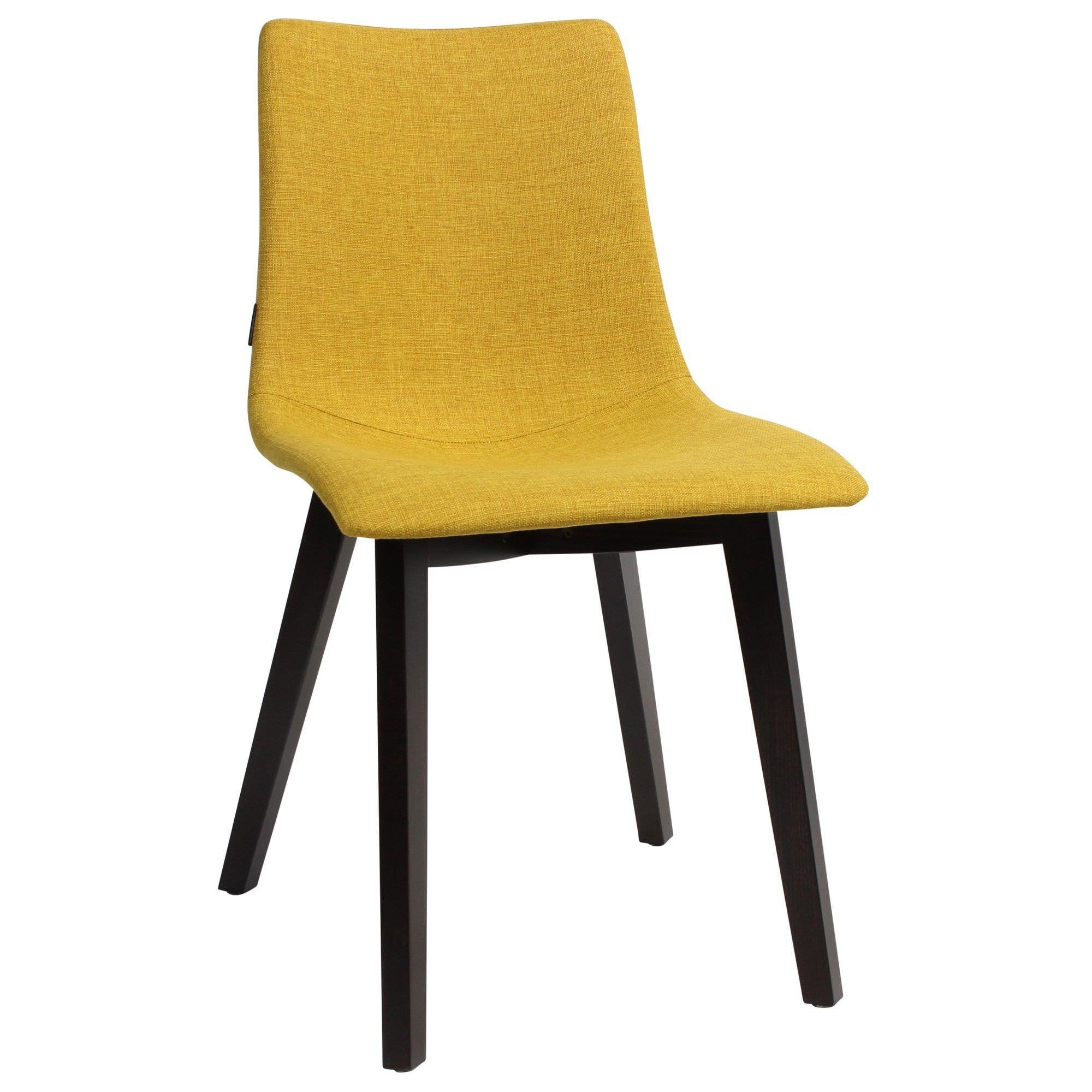 Zebra Pop Italian Made Commercial Grade Fabric Dining Chair, Timber Leg, Saffron / Wenge