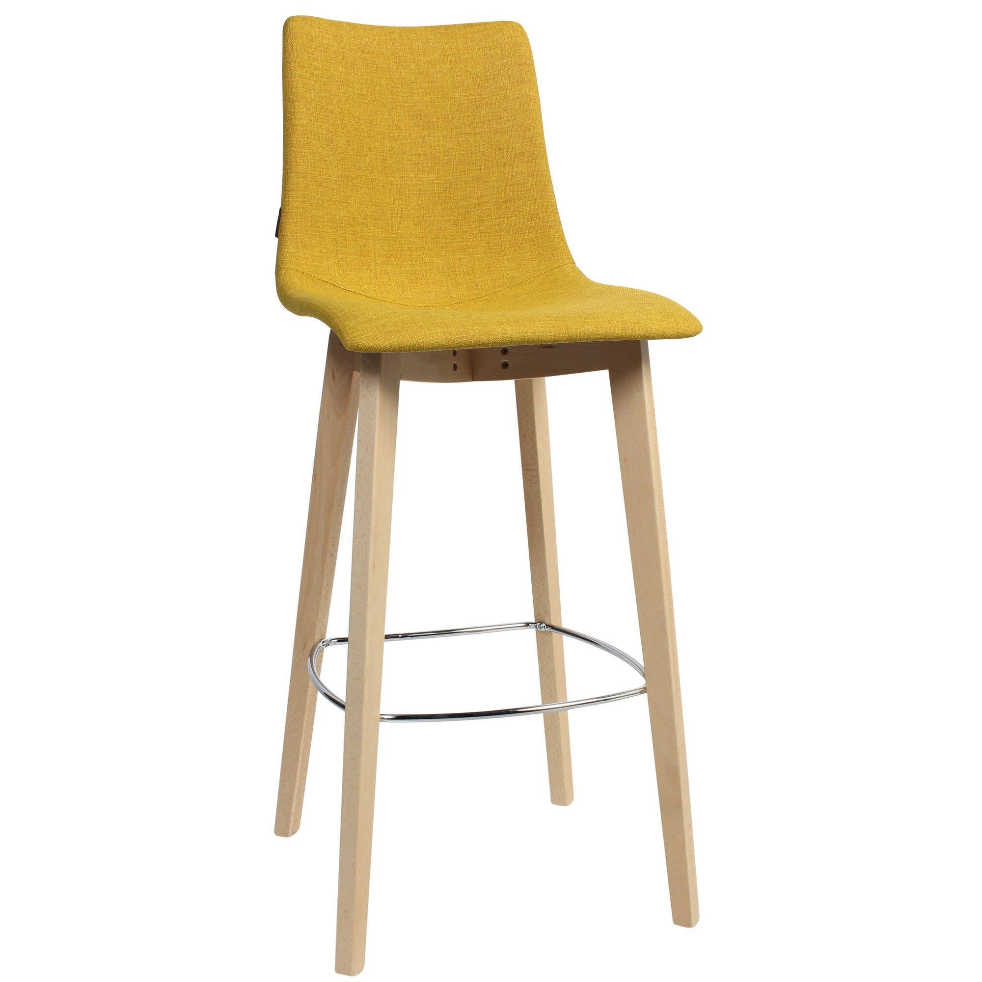 Zebra Pop Italian Made Commercial Grade Fabric Bar Stool, Timber Leg, Saffron / Natural