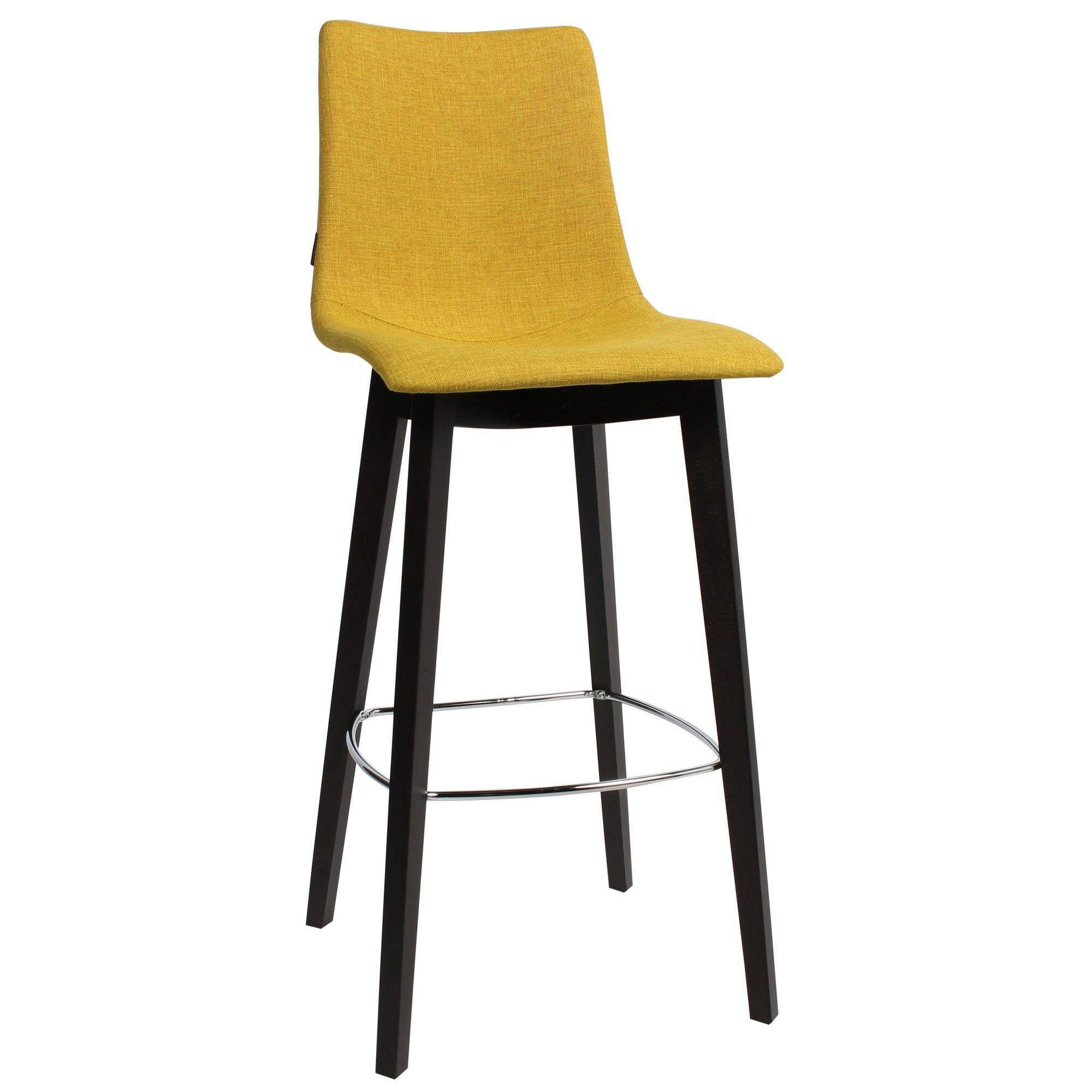 Zebra Pop Italian Made Commercial Grade Fabric Bar Stool, Timber Leg, Saffron / Wenge