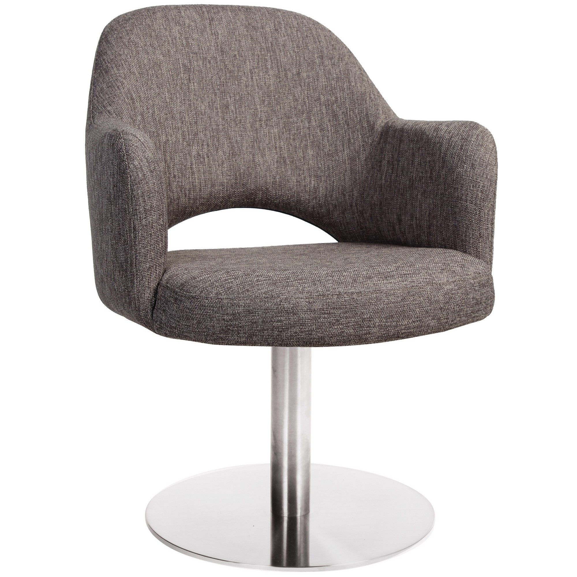 Albury Commercial Grade Fabric Dining Stool with Arm, Metal Disc Base, Ash Grey / Silver