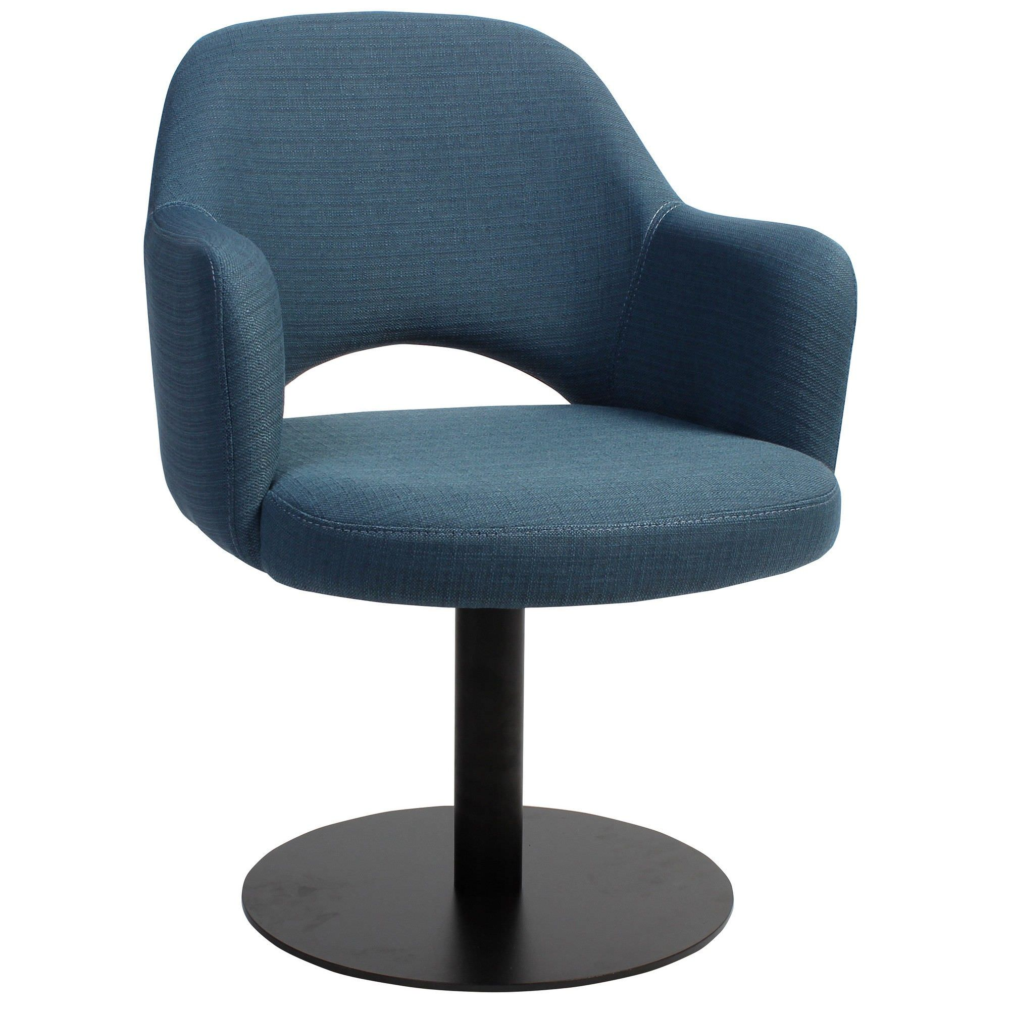 Albury Commercial Grade Fabric Dining Stool with Arm, Metal Disc Base, Blue / Black