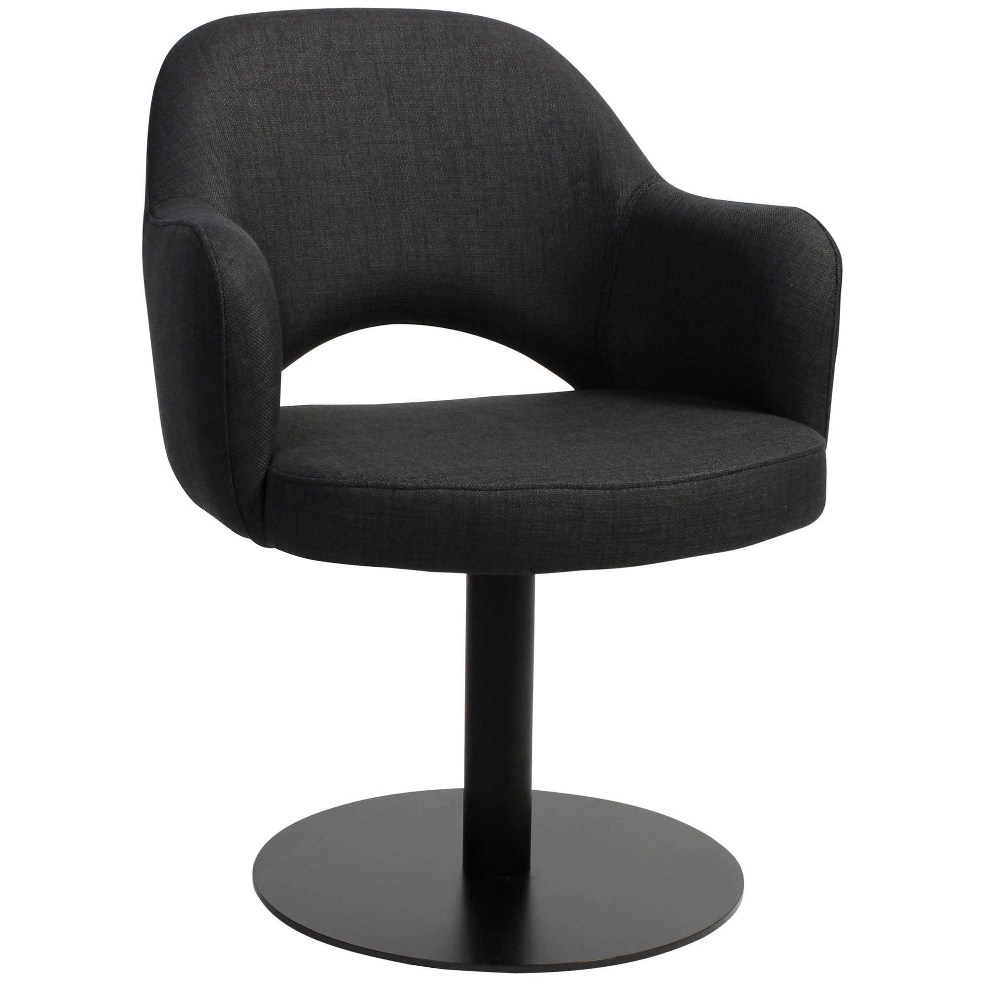 Albury Commercial Grade Fabric Dining Stool with Arm, Metal Disc Base, Charcoal / Black