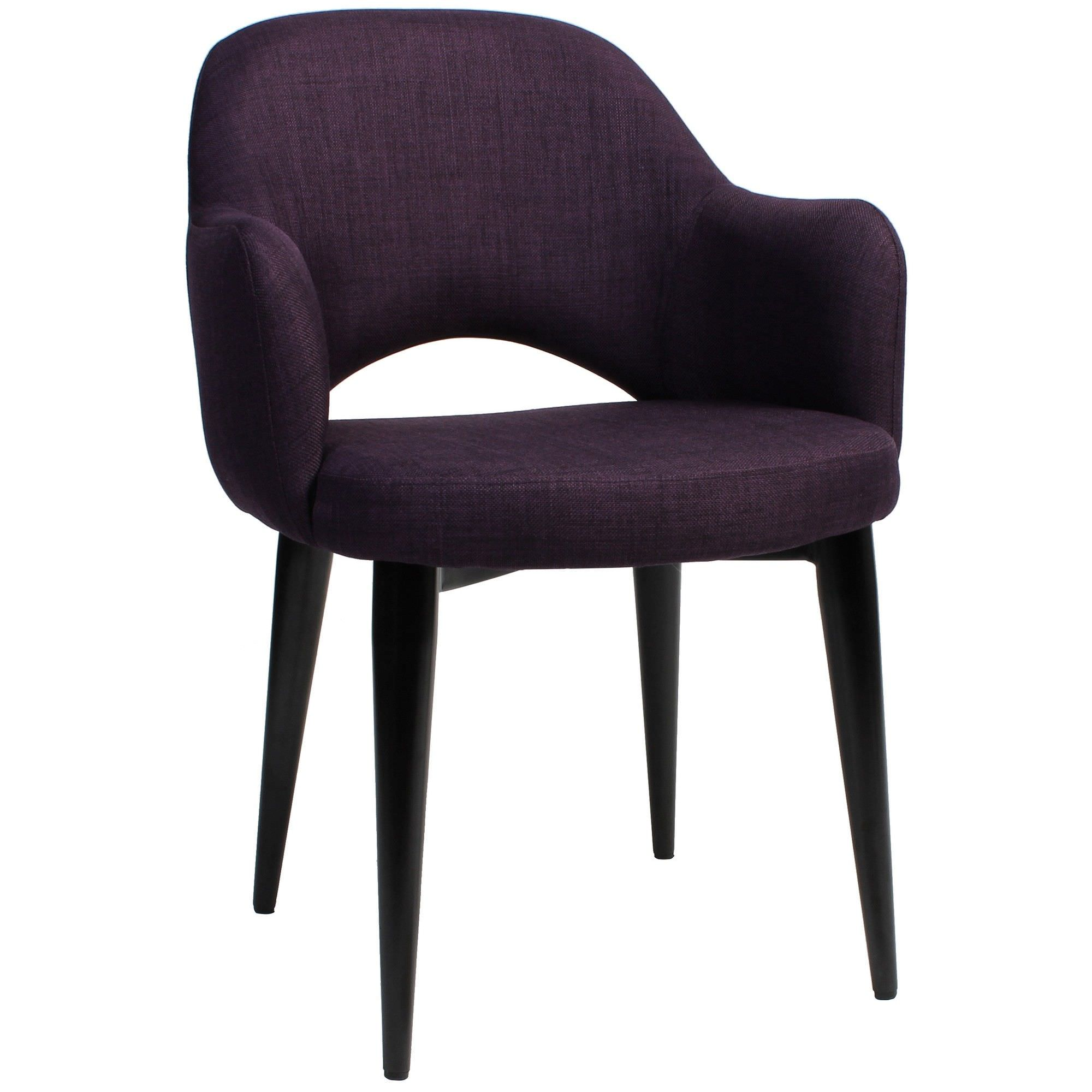 Albury Commercial Grade Fabric Dining Armchair, Metal Leg, Purple / Black
