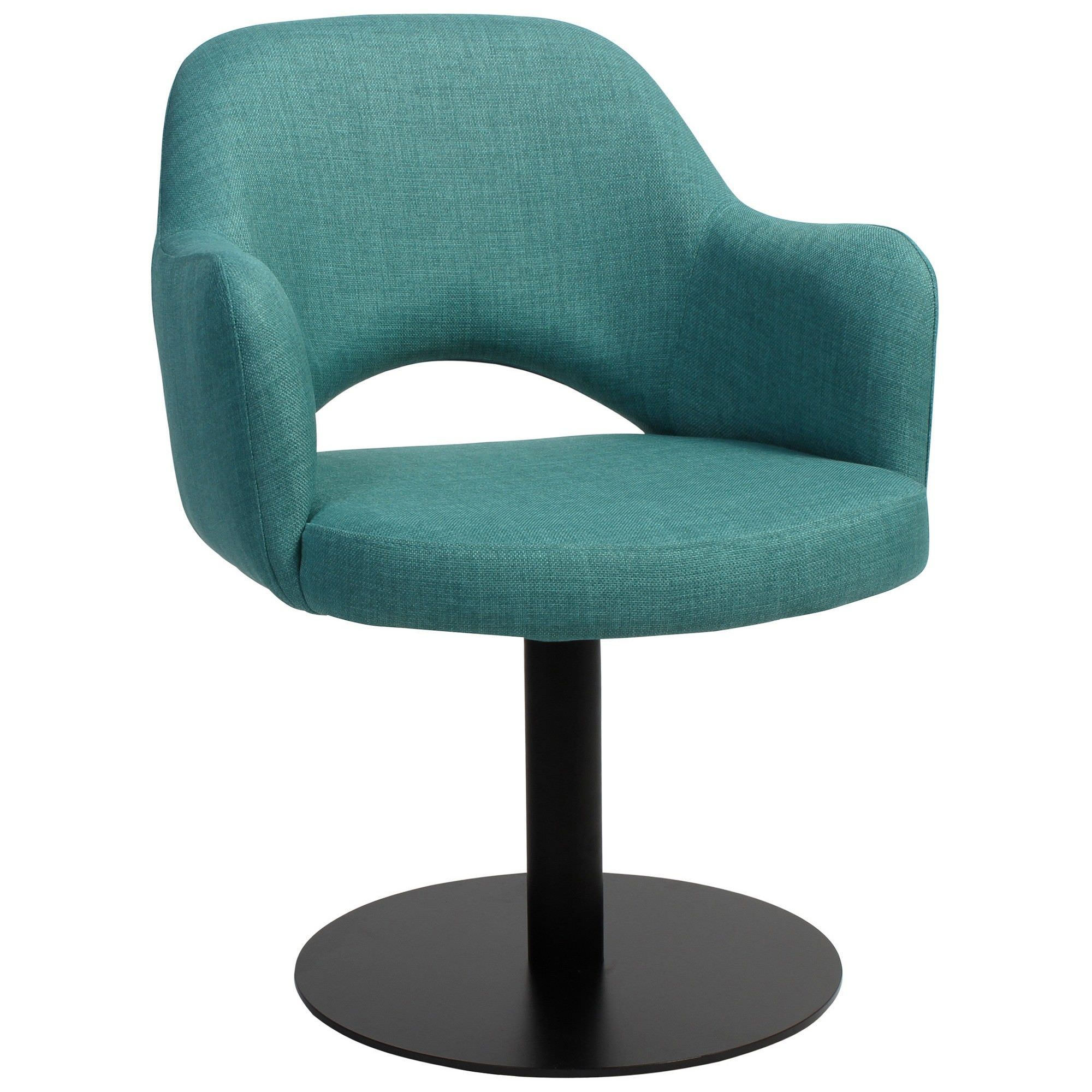 Albury Commercial Grade Fabric Dining Stool with Arm, Metal Disc Leg, Teal / Black