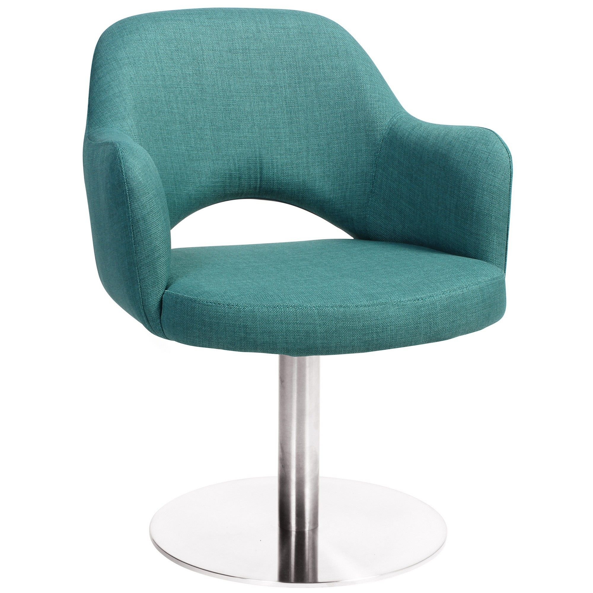 Albury Commercial Grade Fabric Dining Stool with Arm, Metal Disc Base, Teal / Silver