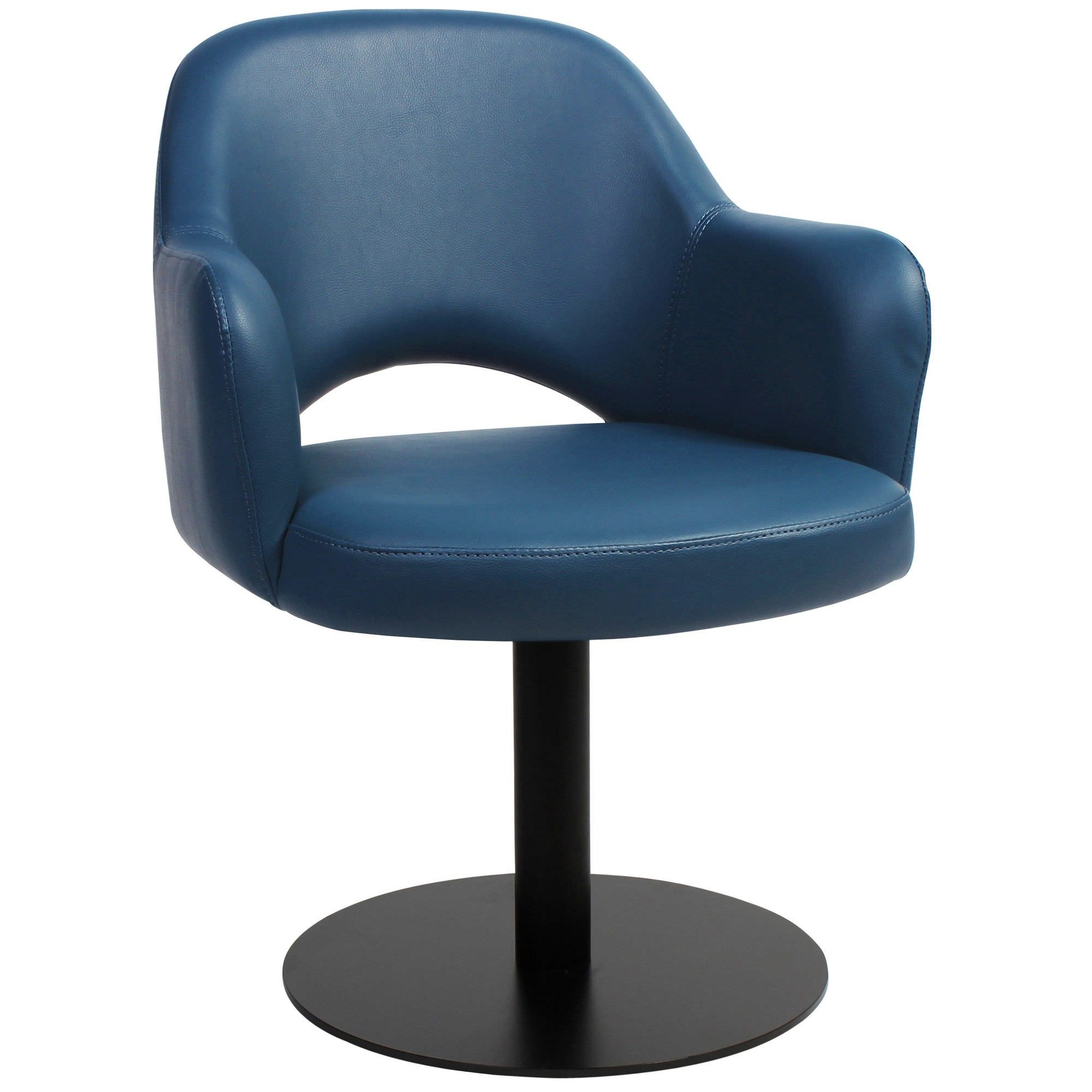 Albury Commercial Grade Vinyl Dining Stool with Arm, Metal Disc Base, Blue / Black