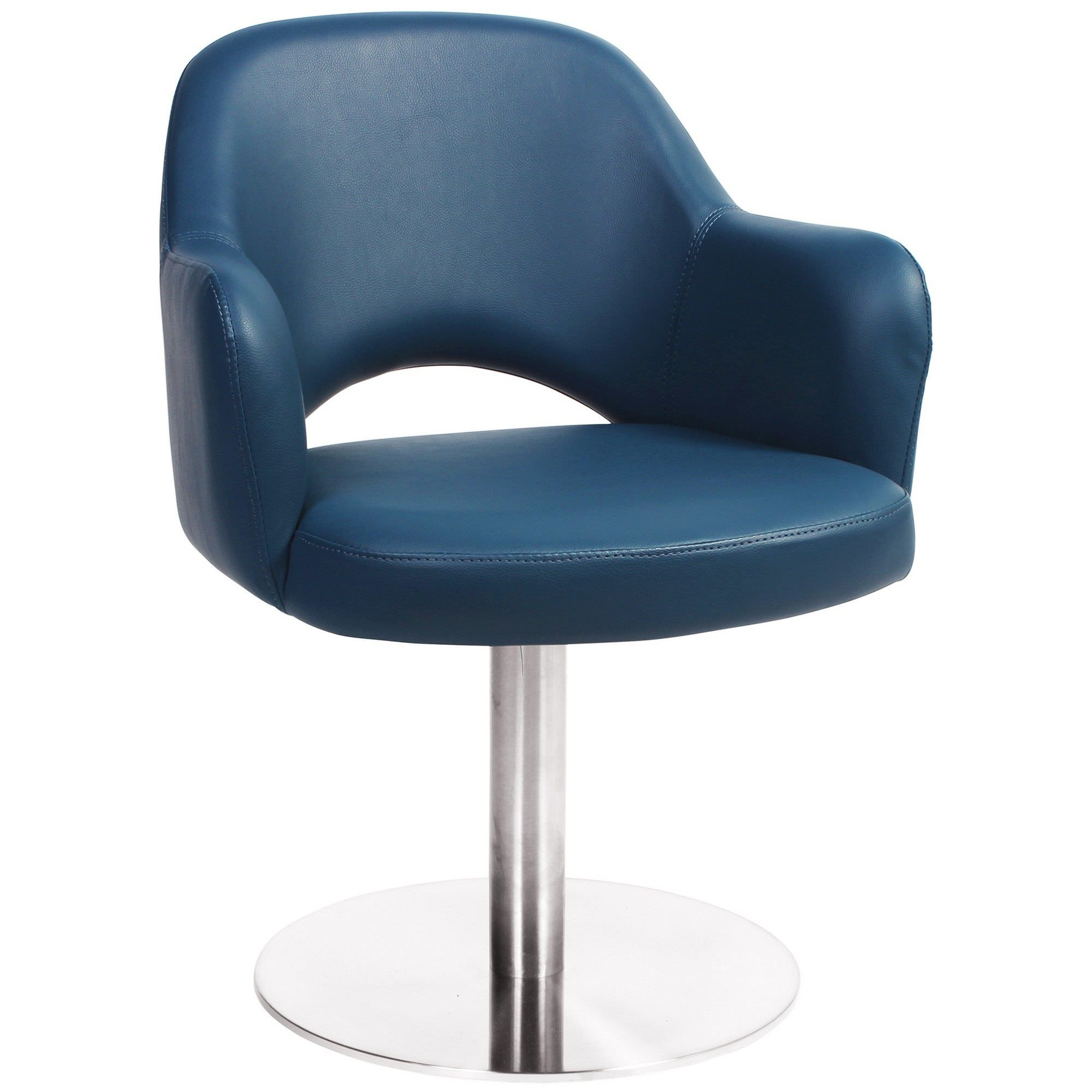 Albury Commercial Grade Vinyl Dining Stool with Arm, Metal Disc Base, Blue / Silver