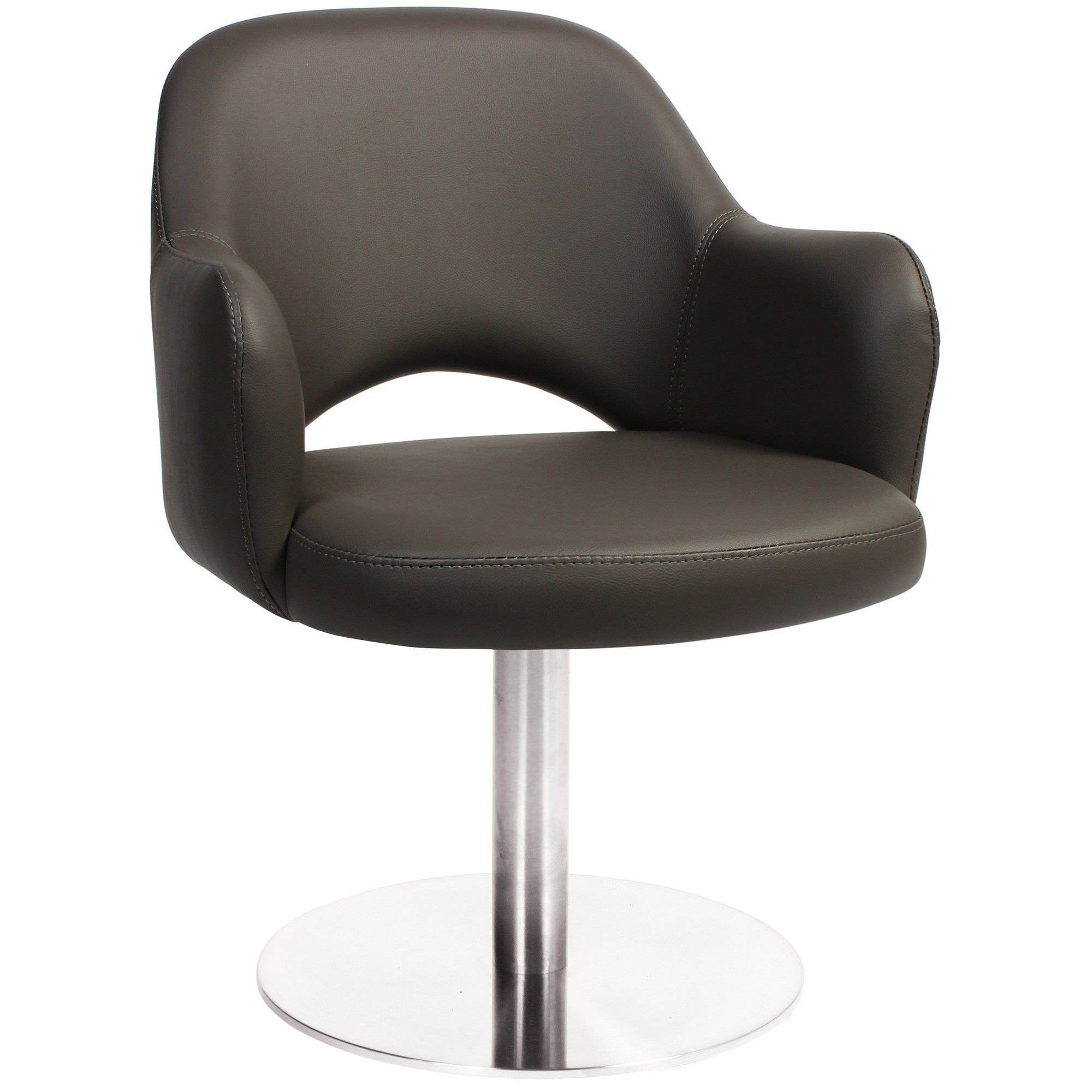 Albury Commercial Grade Vinyl Dining Stool with Arm, Metal Disc Leg, Charcoal / Silver