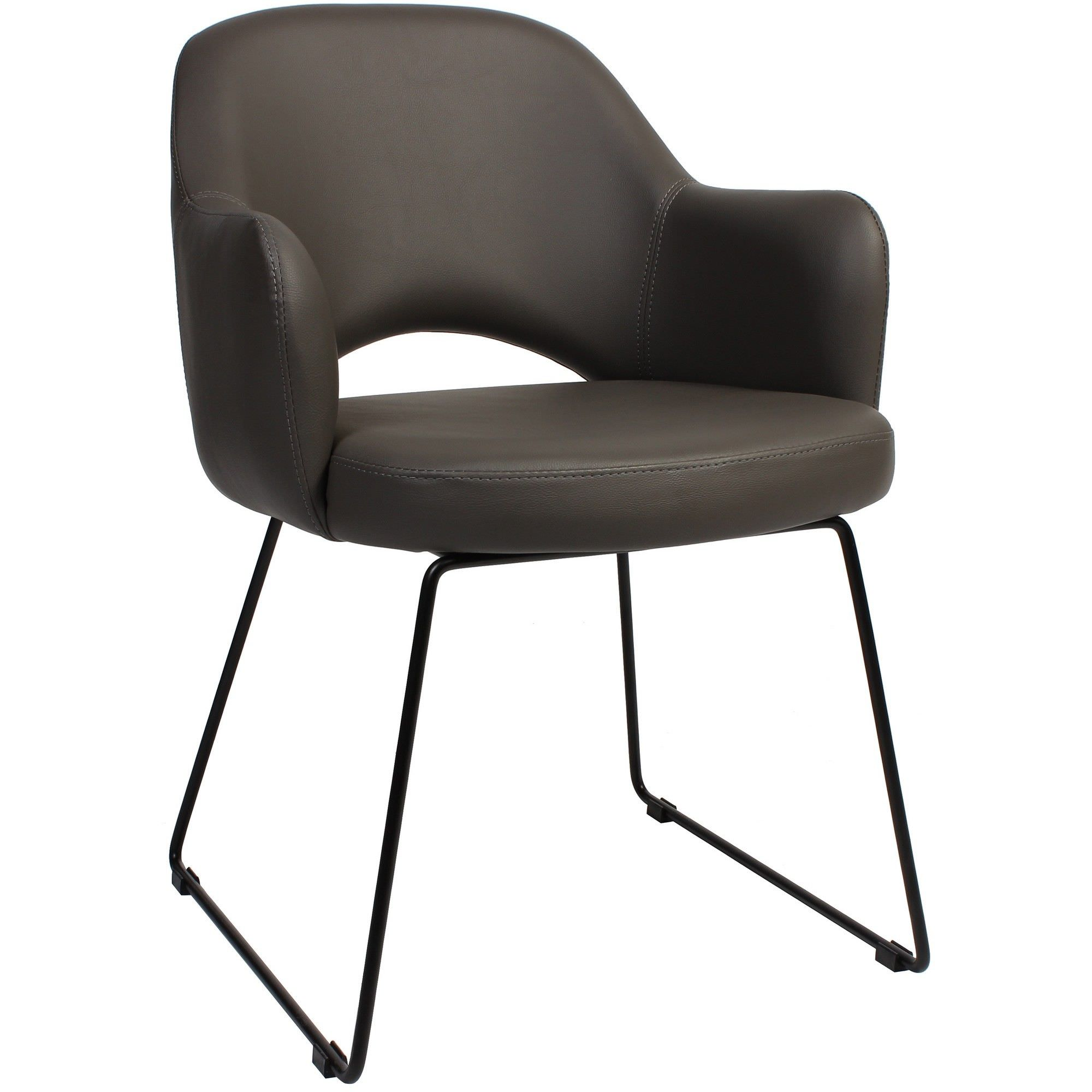 Albury Commercial Grade Vinyl Dining Armchair, Metal Sled Leg, Charcoal / Black