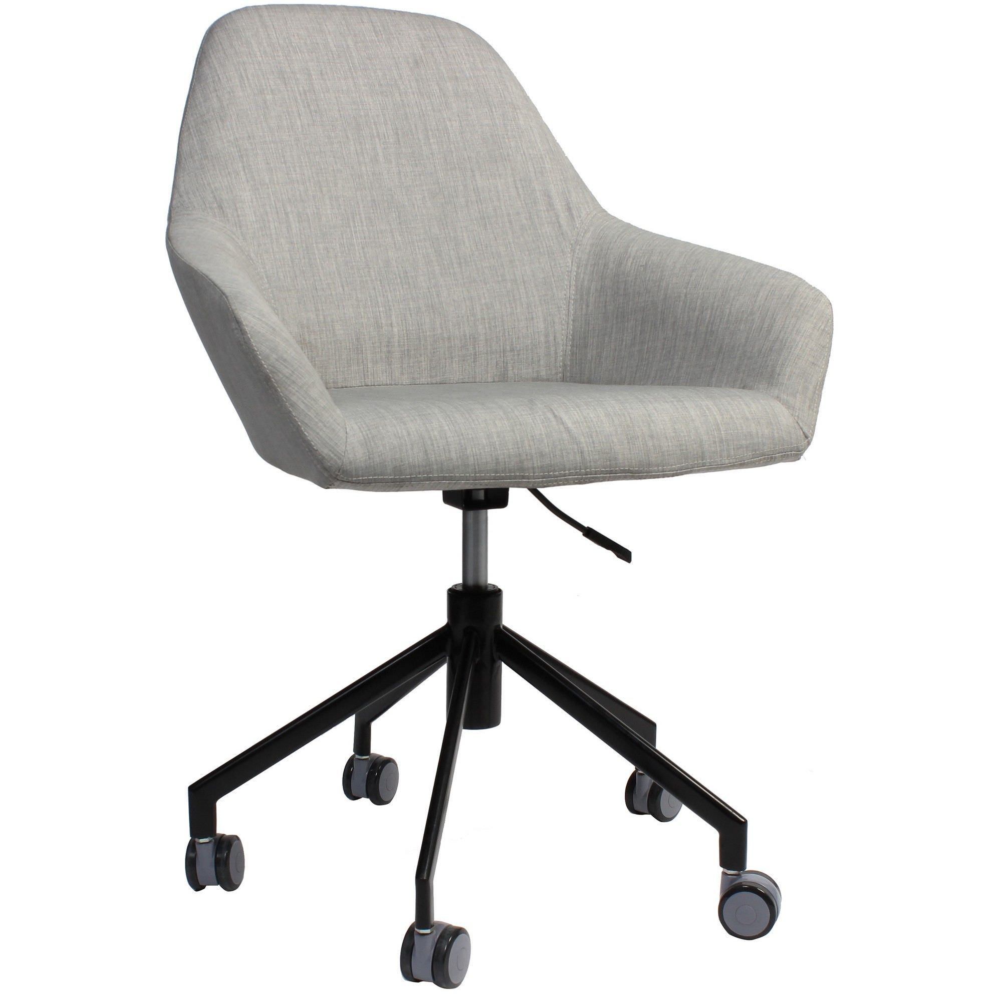 Bronte Commercial Grade Gas Lift Fabric Office Armchair, Light Grey / Black