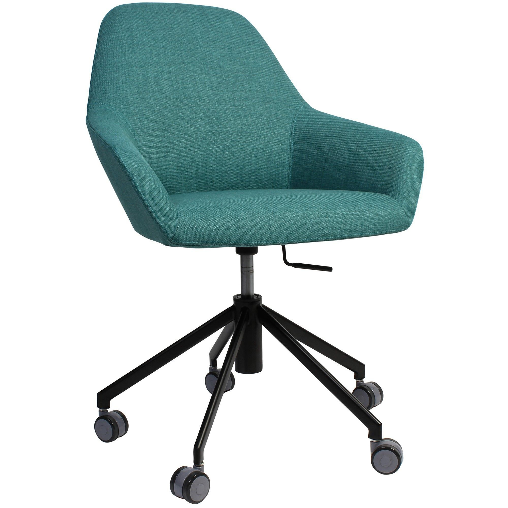 Bronte Commercial Grade Gas Lift Fabric Office Armchair, Teal / Black