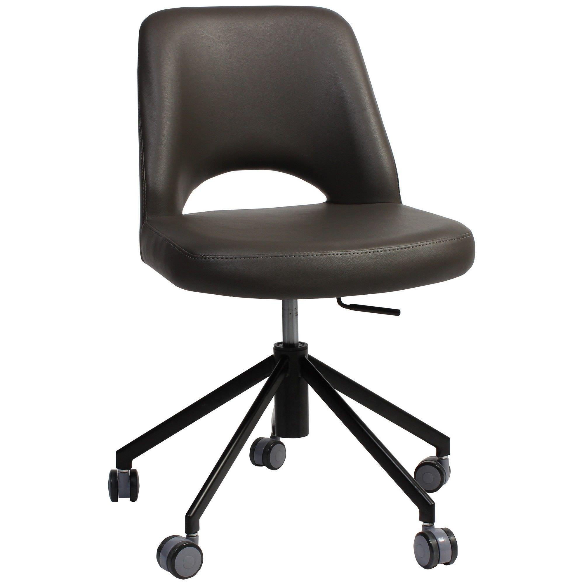 Albury Commercial Grade Gas Lift Vinyl Office Chair, Charcoal / Black