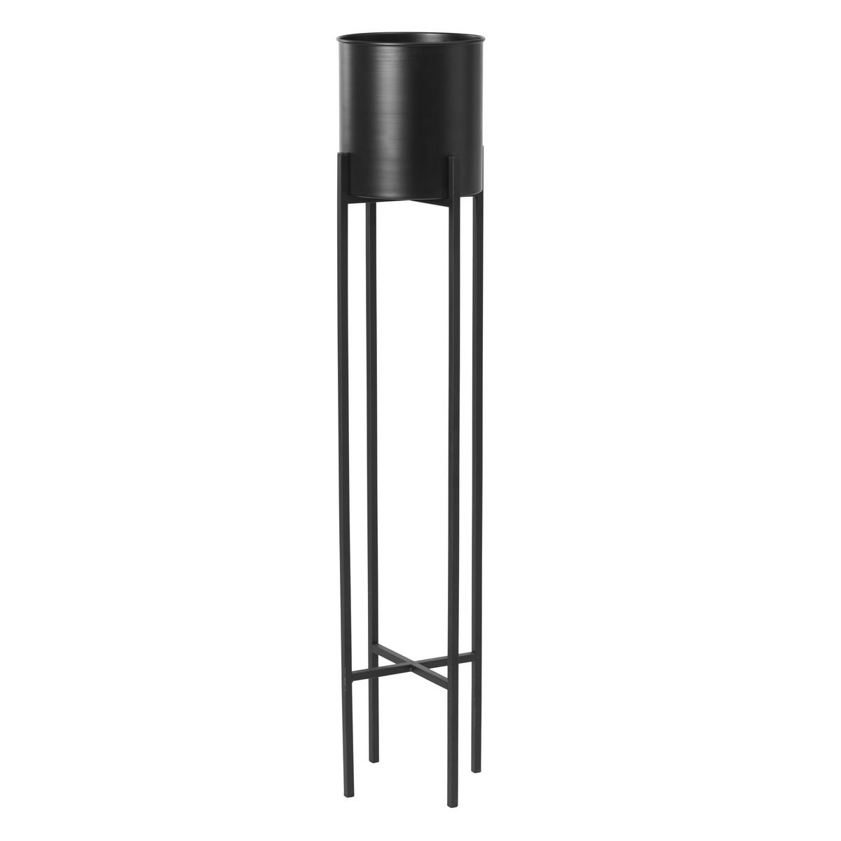 Herbet Metal Plant Pot On Stand, Large, Black