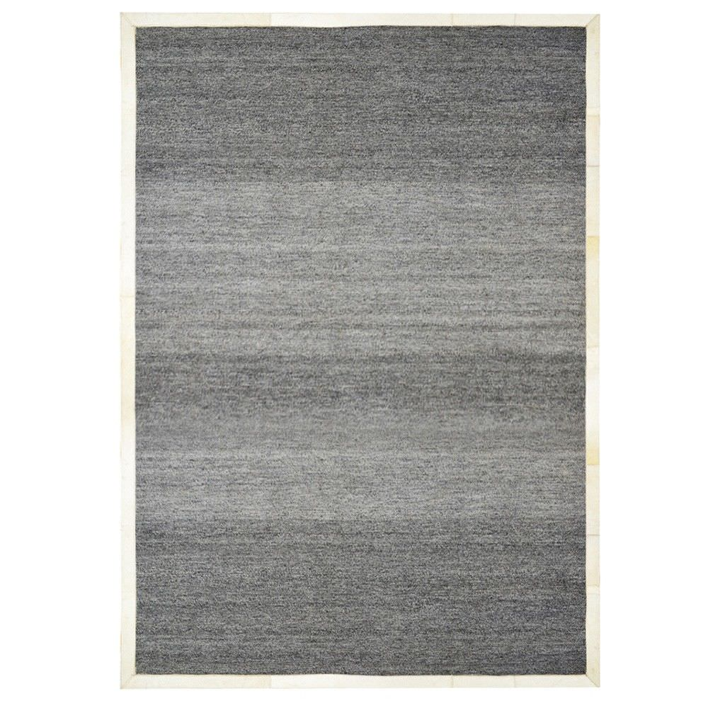 Signature Cowhide Trim Handwoven Wool Rug, 230x160cm, Charcoal / Cream