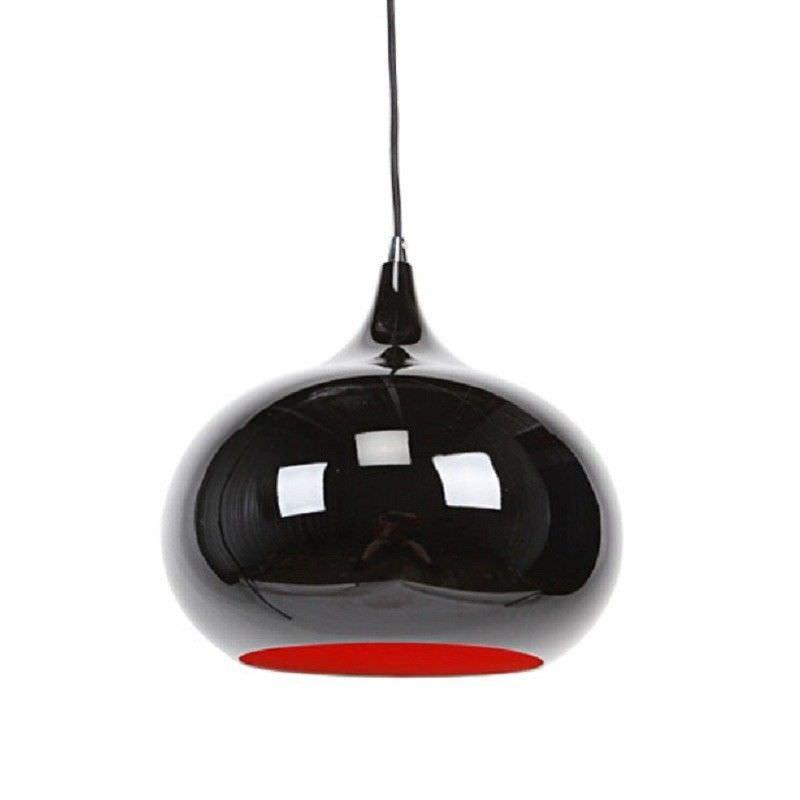 Mini Kirke Pendant Light - Glossy  Black / Red