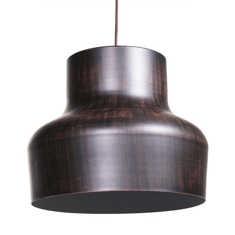 Aron Wood Textured Metal Pendant Light - Wenge