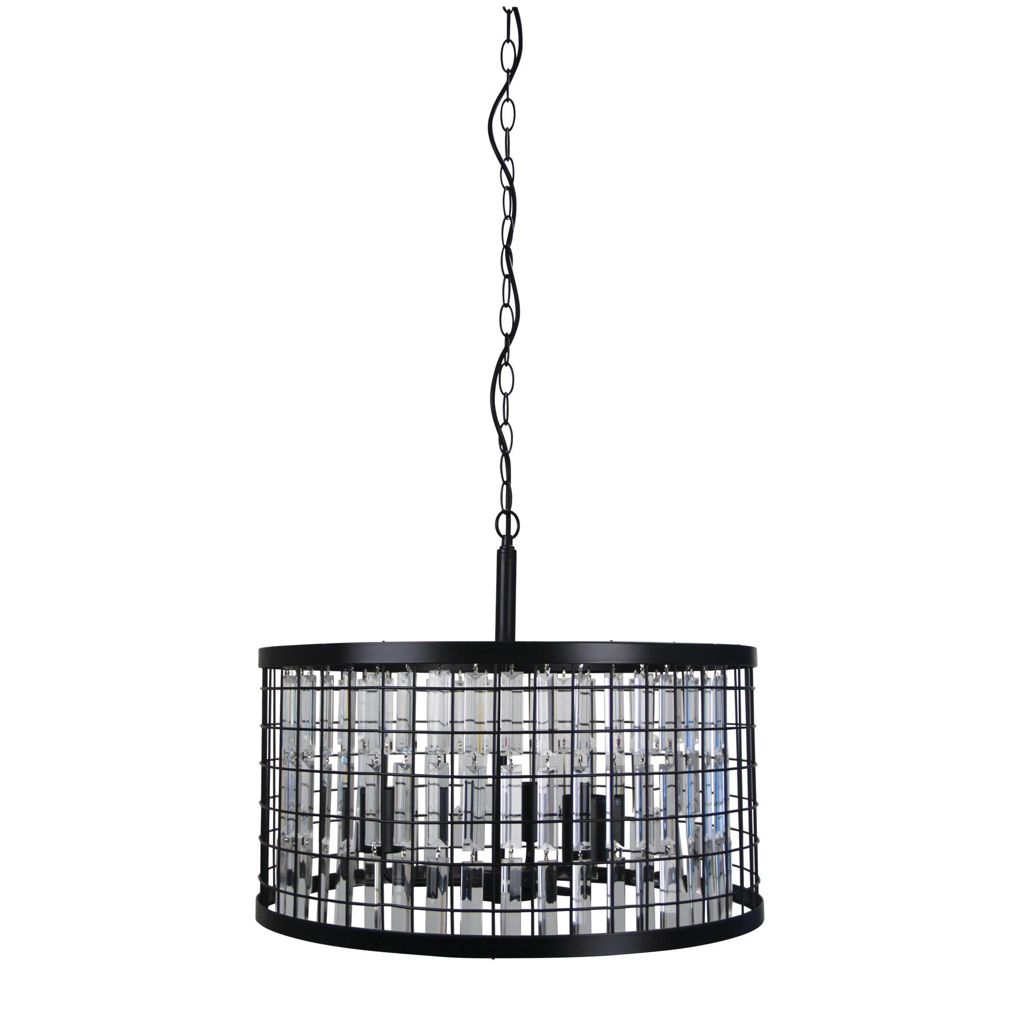 Delaware Metal & Faux Crystal Pendant Light, 52cm