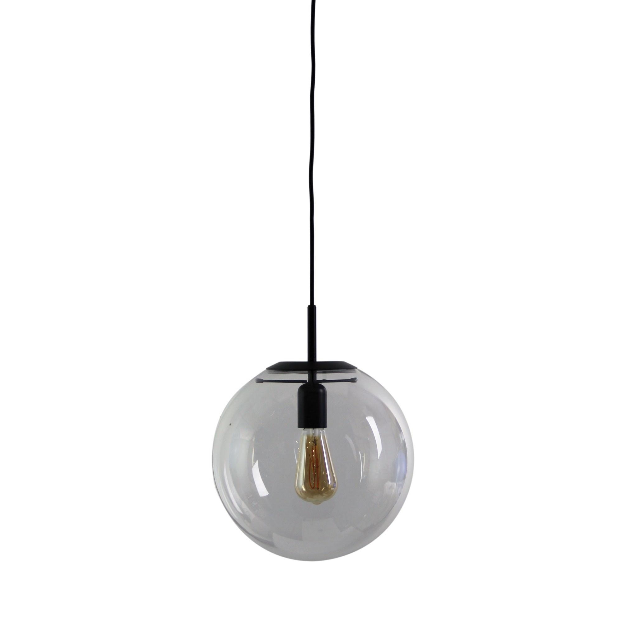 Newton Spherical Glass Pendant Light, 30cm, Matt Black