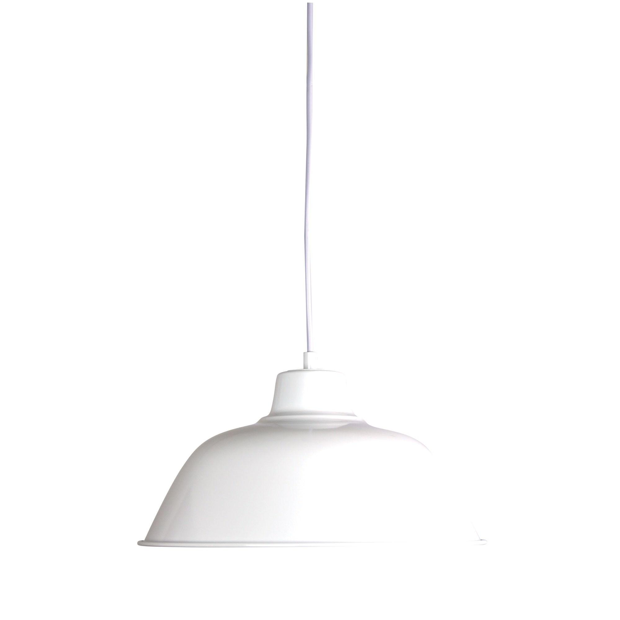 Forge Metal Pendant Light, 30cm, Glass White