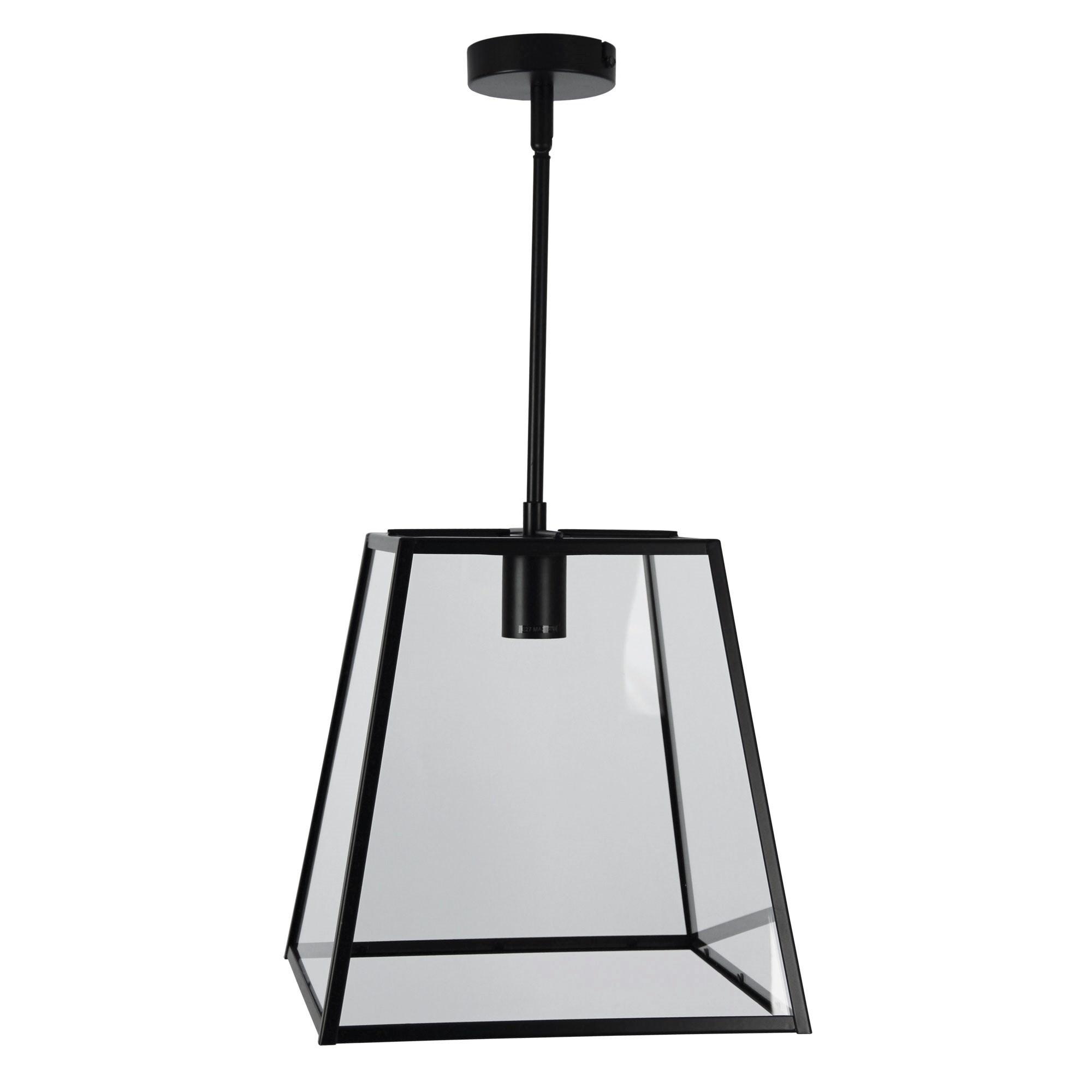 Eaton Trapezoid Metal & Glass Penant Light, 1 Light