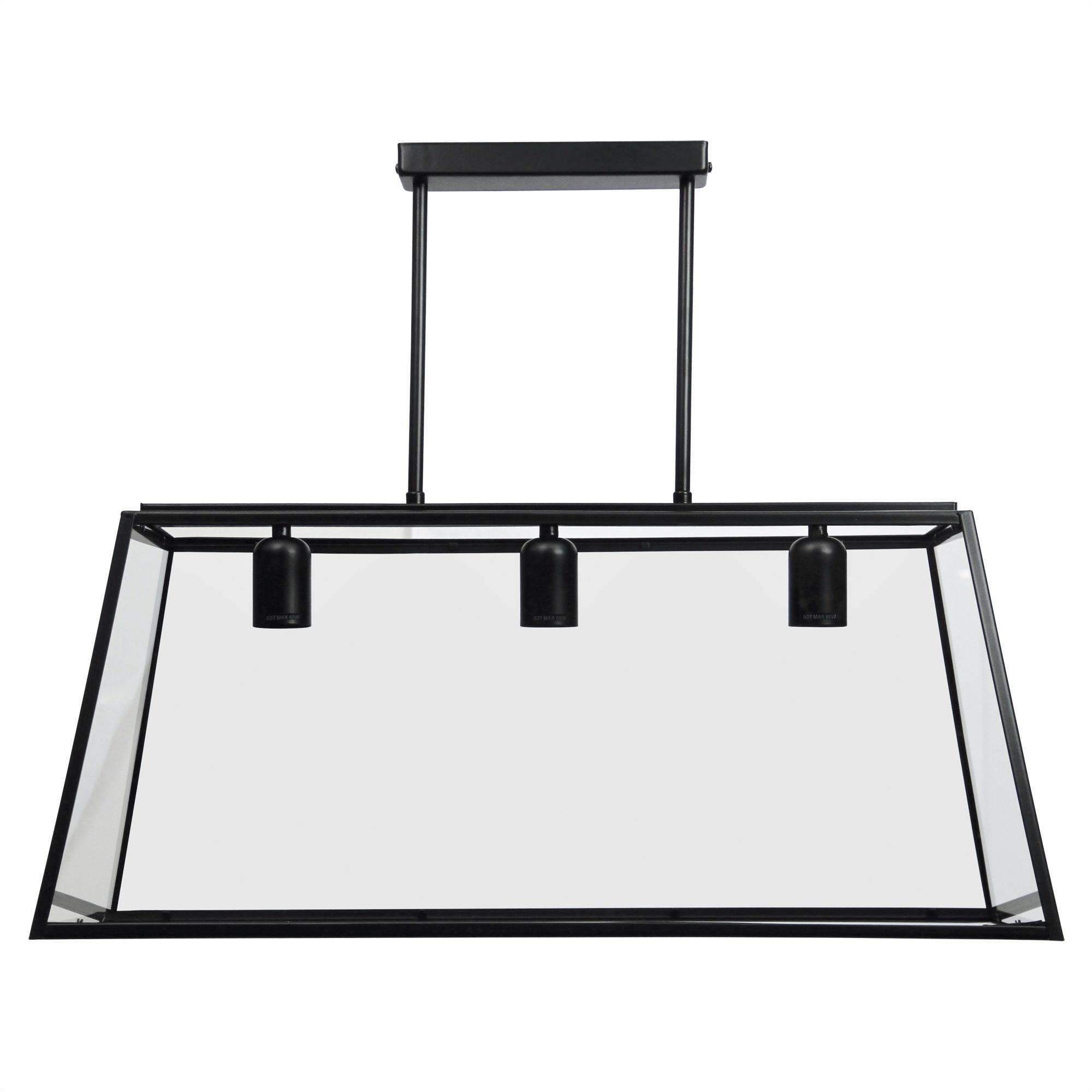 Eaton Trapezoid Metal & Glass Penant Light, 3 Light