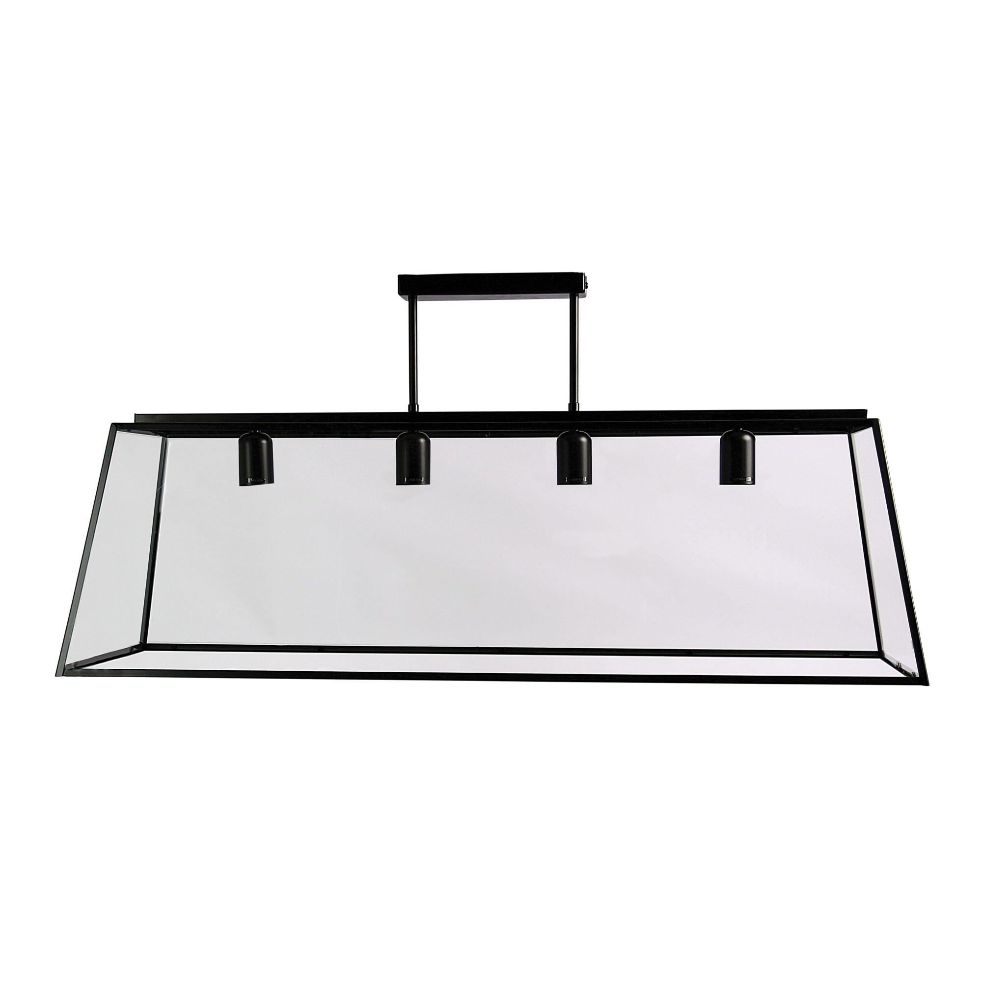 Eaton Trapezoid Metal & Glass Penant Light, 4 Light