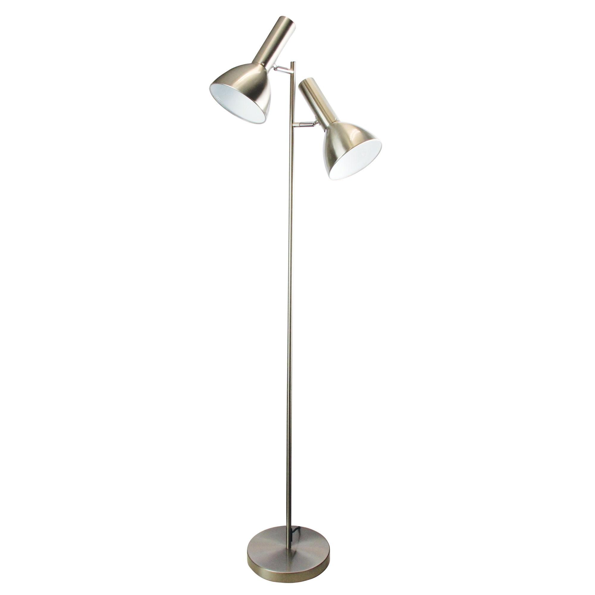 Vespa Metal Twin Floor Lamp, Brushed Chrome