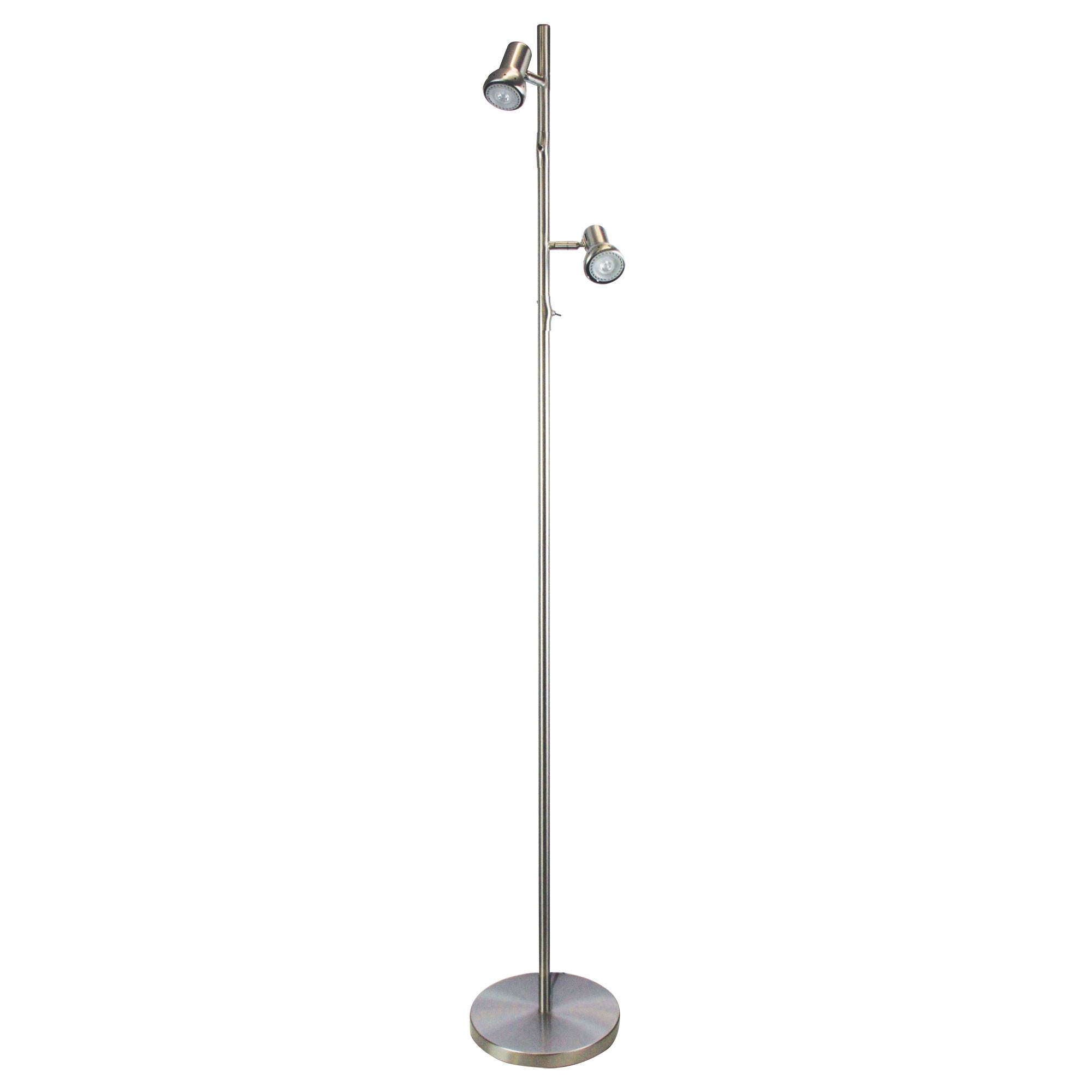 Daxam Metal Twin Adjustable LED Floor Lamp, Brushed Chrome