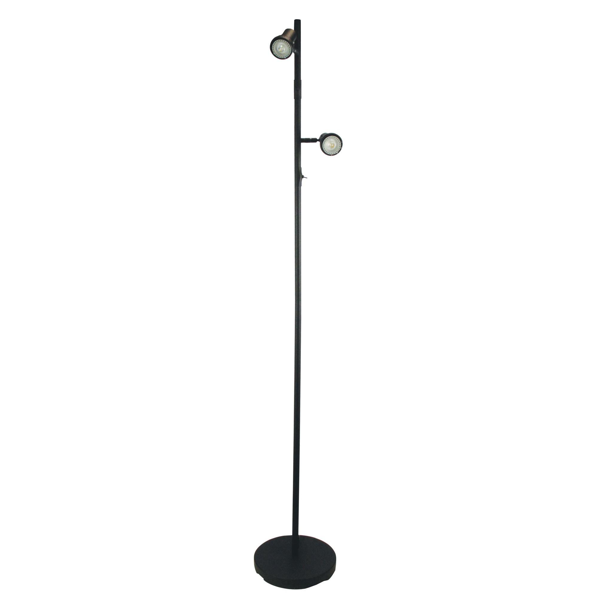 Daxam Metal Twin Adjustable LED Floor Lamp, Black