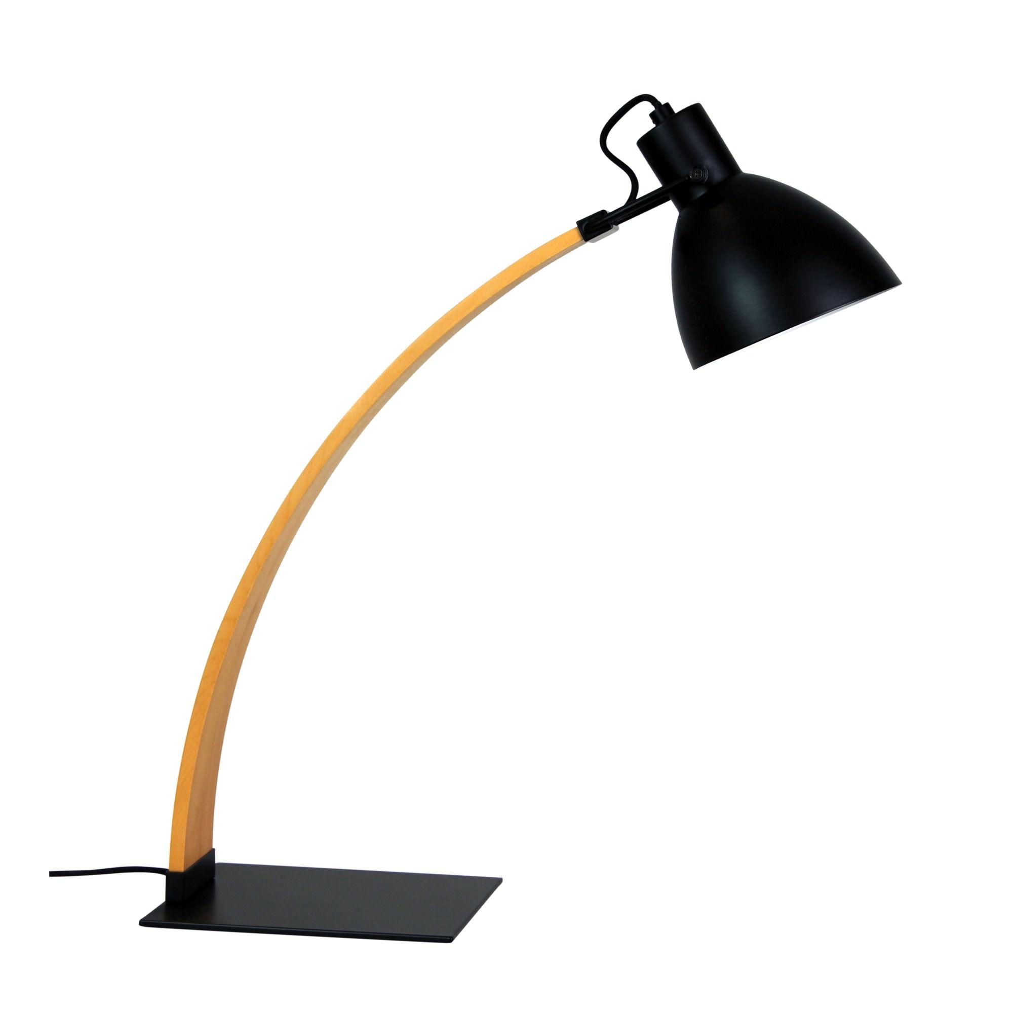 Perno Timber & Metal Desk Lamp, Rubbed Bronze