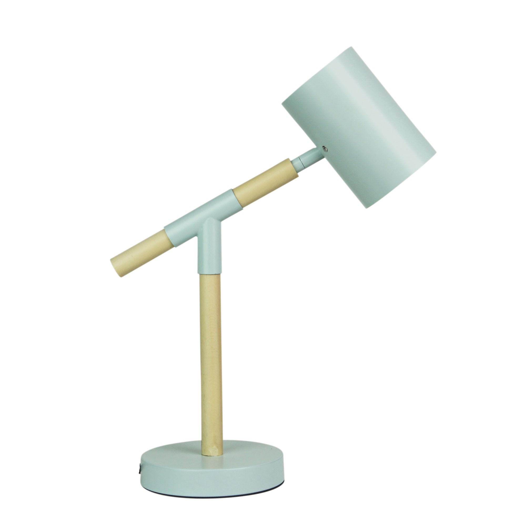 Ludo Timber & Metal LED Desk Lamp, Pale Blue