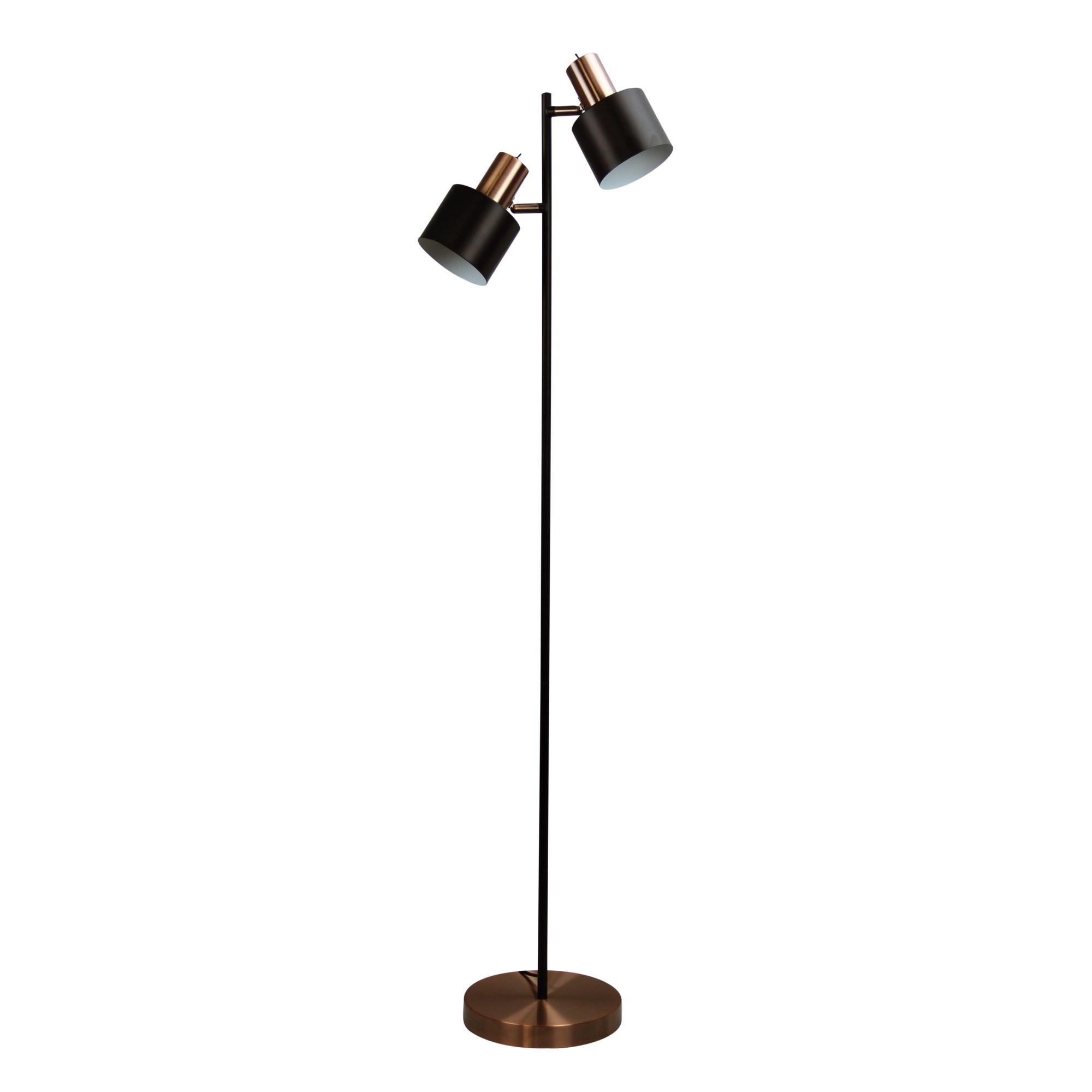 Ari Metal Floor Lamp, 2 Light, Brushed Copper