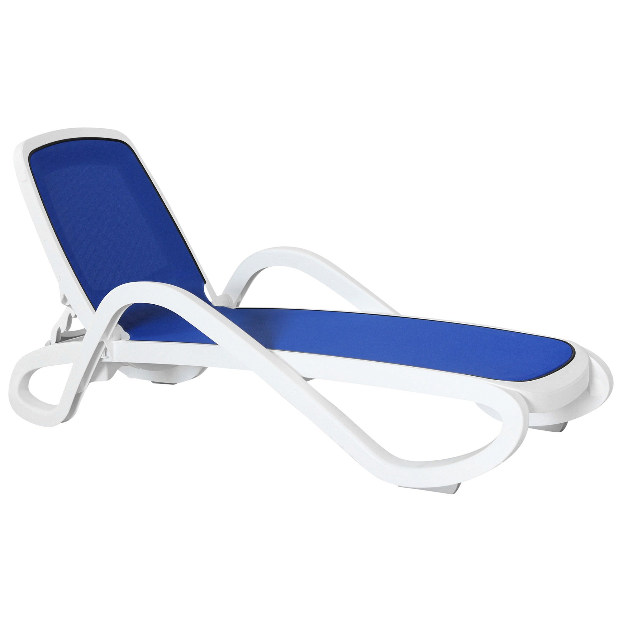 Barbados Italian Made Commercial Grade Stackable Sun Lounge, Blue / White