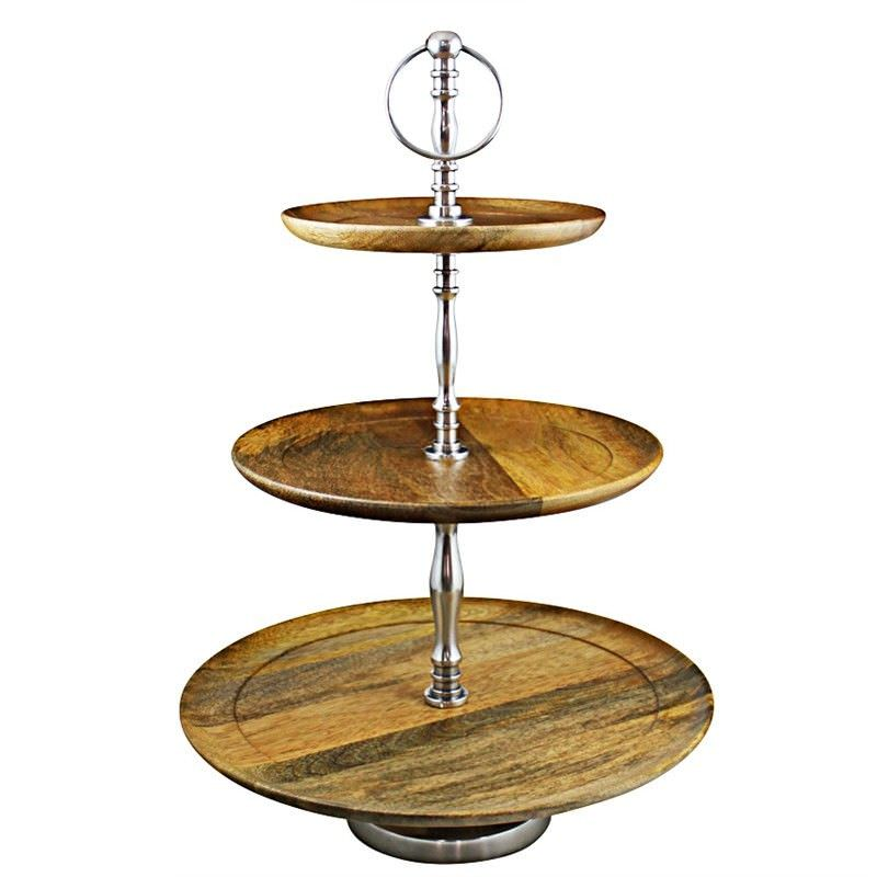 Louise Solid Oak Timber and Aluminium 3 Tier Cake Stand