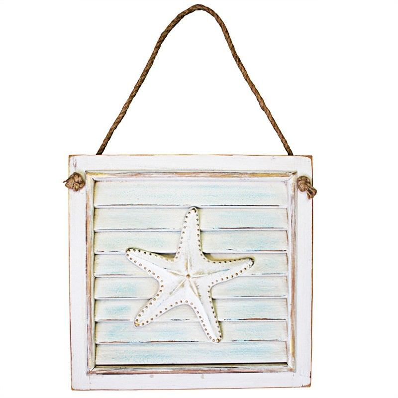 Set of 2 Sealife Wooden Shutter Wall Plaques with Starfish Sculpture