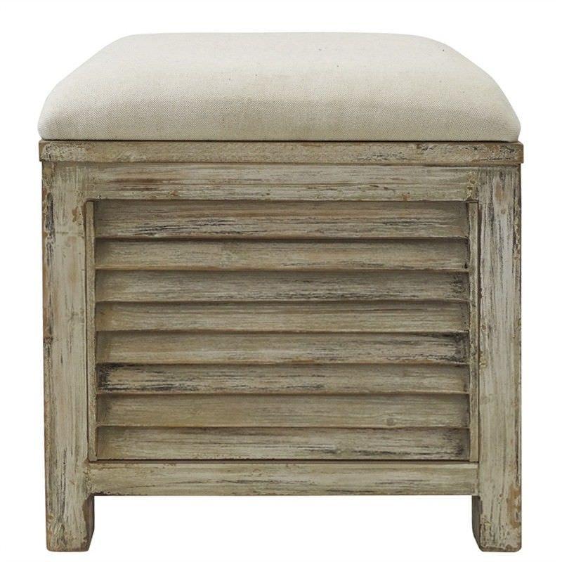 Noyes Slatted Timber Storage Stool with Linen Seat