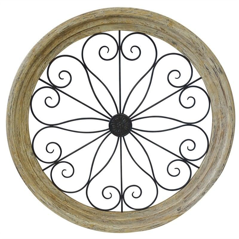 Castello Solid Timber & Metal Round Wall Art