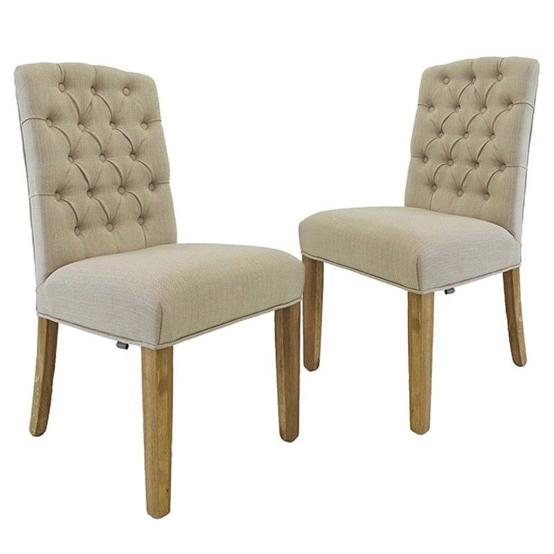 Set of 2 Charles Cotton Upholstered Oak Timber Dining Chair - Natural