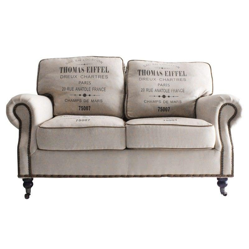 Eiffel Linen Upholstered Oak Timber 2 Seater Sofa