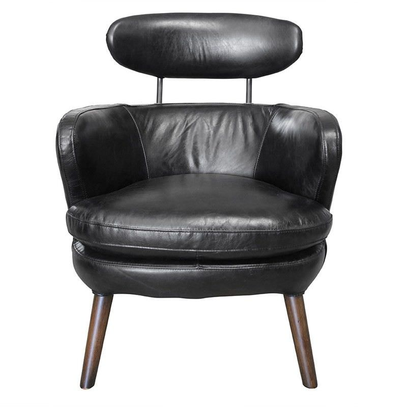 Rubis Vintage Italian Leather Armchair, Black