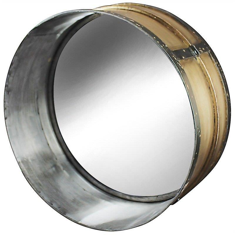 Drummer Industrial Metal Frame 40cm Round Wall Mirror