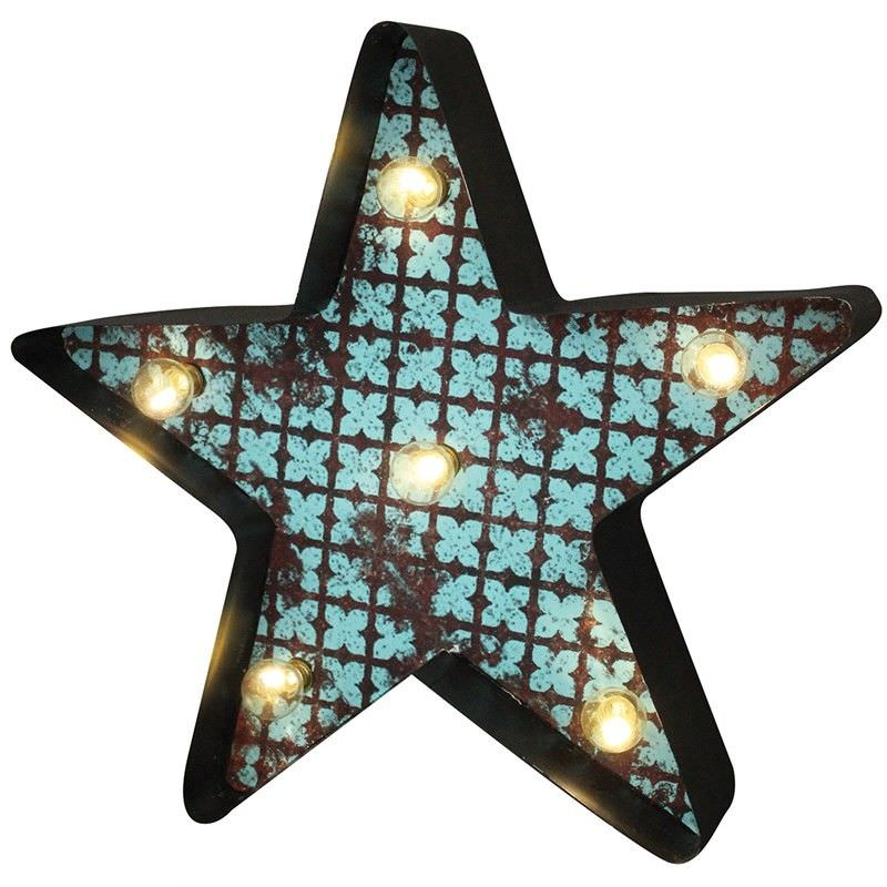 Star Shape LED Lighting Metal Wall Decor with Remote