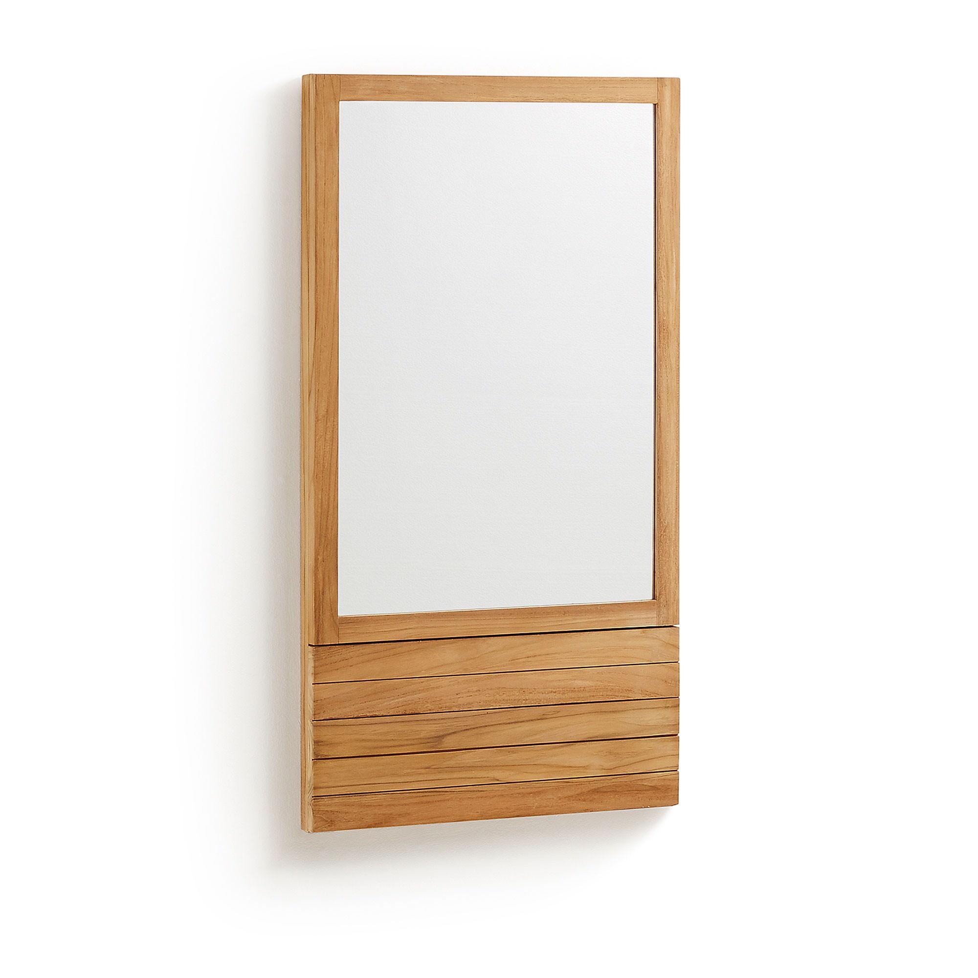 Ethel Teak Timber Bathroom Wall Mirror, 110cm