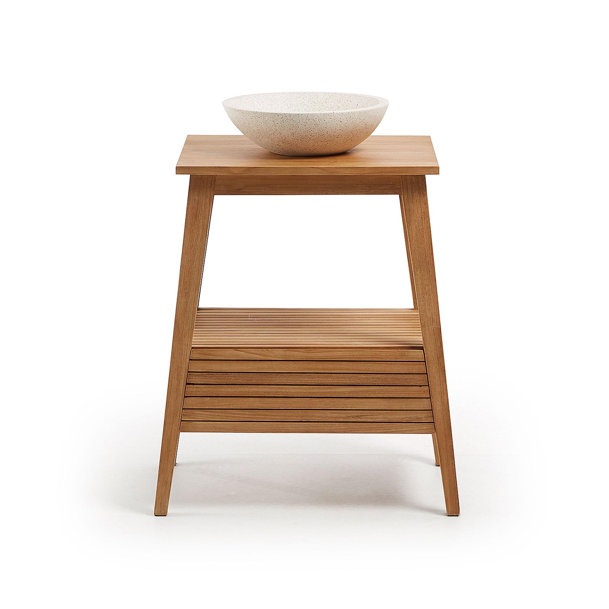 Ethel Teak Timber Bathroom Vanity with Terrazo Basin, 1 Drawer Free Standing