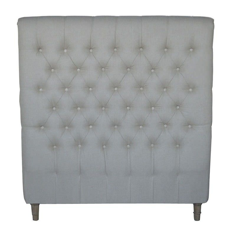 Chesterfield Tufted Linen Bed Headboard, King Single, Oatmeal