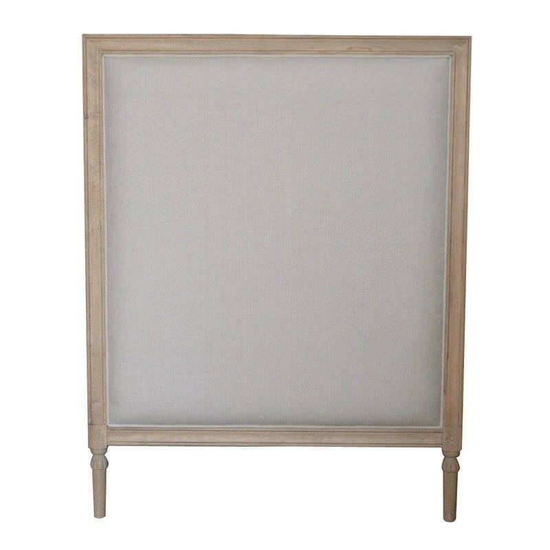 Abbey Linen Upholstered Bedhead, Single Size, Weathered Oak