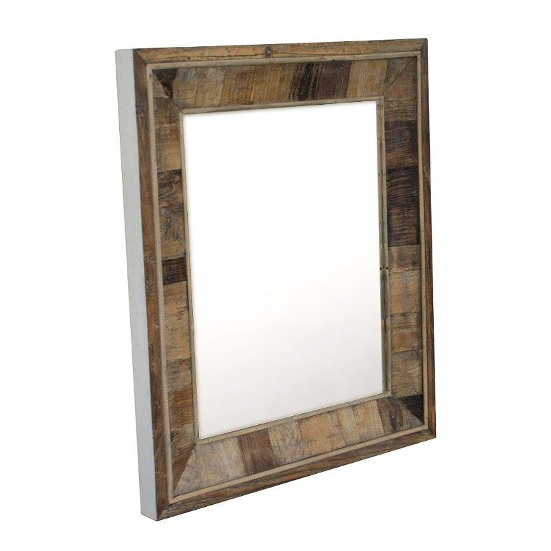 Petra Recycled Elm Timber Frame 80cm Wall Mirror