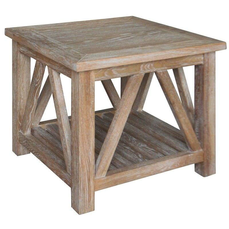 Bennett Oak Timber Square Side Table, Lime Washed Oak