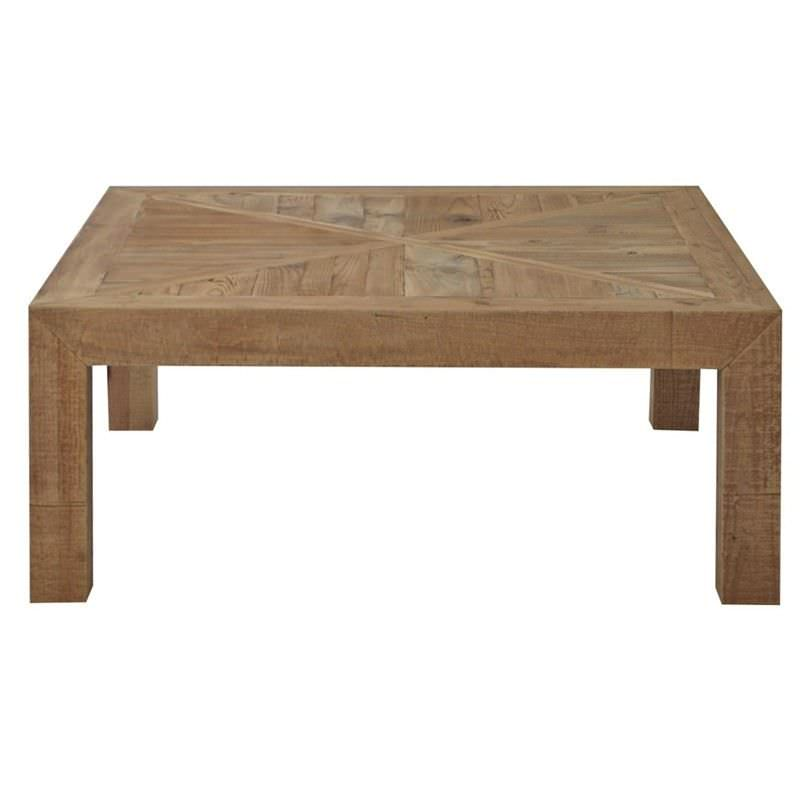 Alvis Recycled Timber Parquetry Top Square Coffee Table